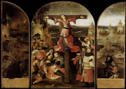 Bosch, Hieronymus: Triptych of the Martyrdom of St Liberata. Religious Fine Art Print/Poster. Sizes: A4/A3/A2/A1 (001446)